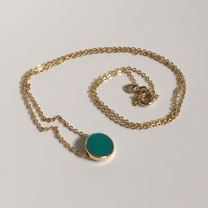 $3/30 Gold necklace with turquoise enamel pendant